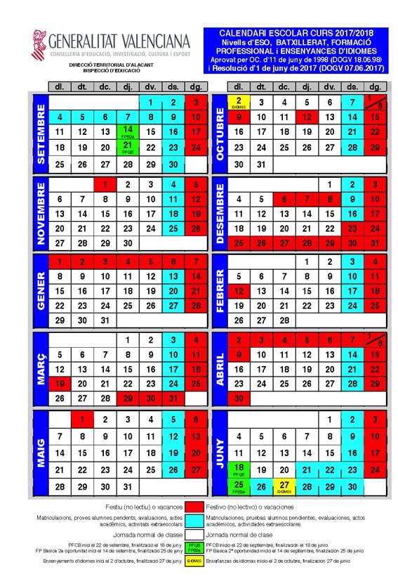 Calendario Escolar 2020 2020 Comunidad Valenciana.Calendario Escolar